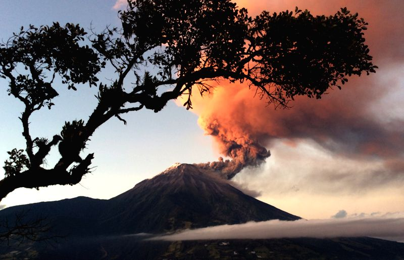 The Tungurahua volcano erupts in Banos, 178 km south of Quito, capital of Ecuador, on Aug. 31, 2014.