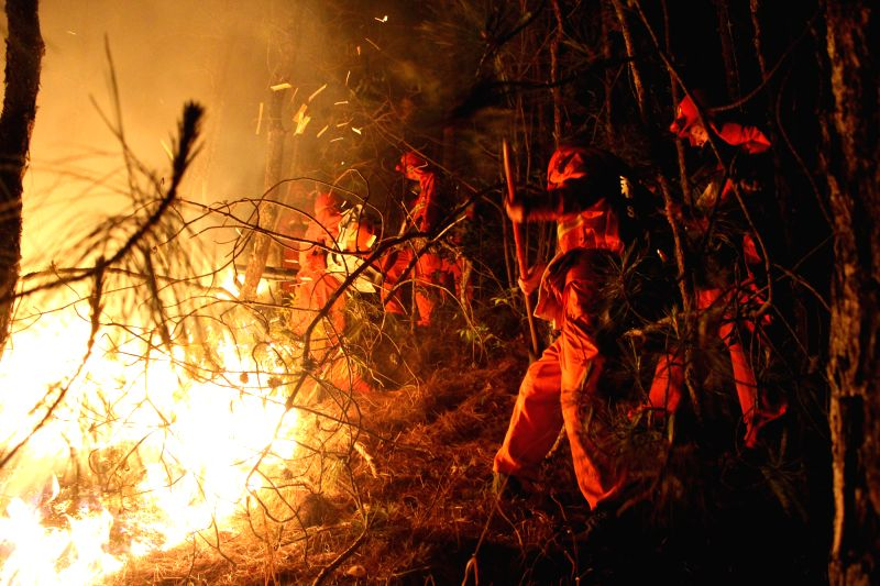 Firefighters work on the Ninan Mountain in the Longyang District of Baoshan City, southwest China's Yunnan Province, April 14, 2014. The fire, which occurred ...