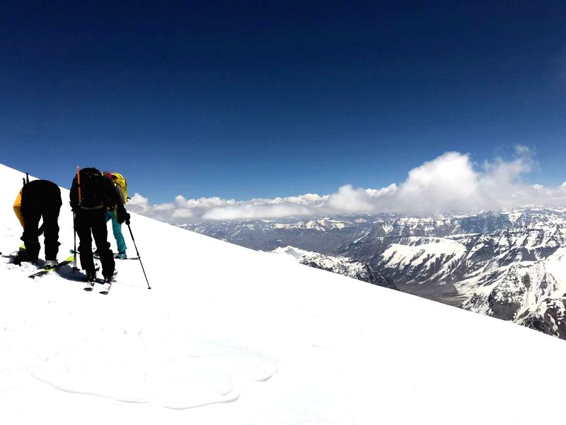 Bara-lacha la: Seven skiers, one Indian, one from Belgium and 5 from France, are on a skiing expedition at Bara-lacha la in Lahaul and Spiti district, Himachal Pradesh on June 4, 2019.