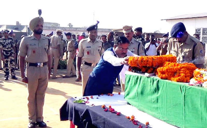 Funeral of Padmalochan Majhi who was among the 13 CRPF soldiers killed in Dec 1 gun battle with Maoists in Chhattisgarh; in ​​Baragada, Odisha on Dec 3, 2014.