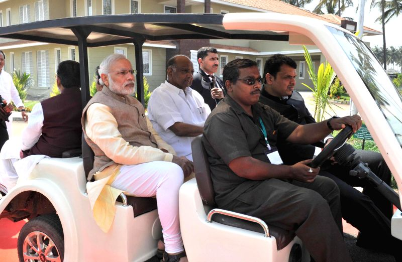 Prime Minister Narendra Modi visits the Krishi Vigyan Kendra Campus of the Agricultural Development Trust, in Baramati, Maharashtra on Feb 14, 2015. - Narendra Modi