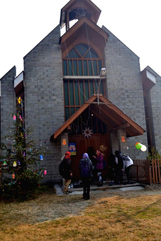 A church decked up on Christmas in Baramulla, on Dec 25, 2014.