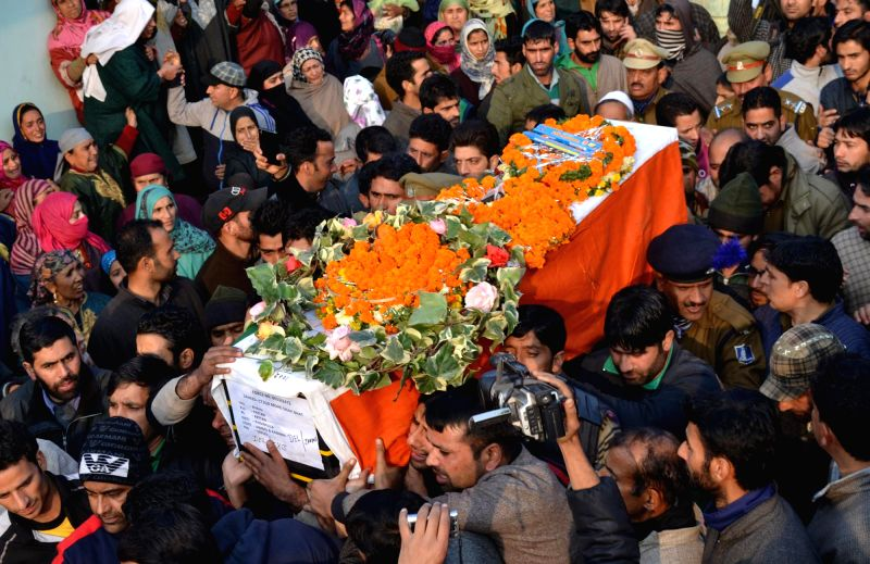 Funeral procession of Mohd. Shafi Bhat who was among the 13 CRPF soldiers killed in Dec 1 gun battle with Maoists in Chhattisgarh, in Pattan area of Baramulla, Jammu and Kashmir on Dec 3, .