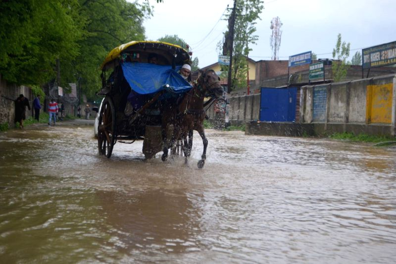Waterlogged roads of Baramulla after heavy rains on April 27, 2015.