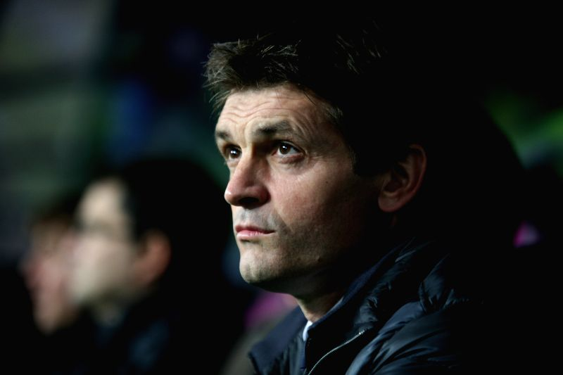 File photo taken on Jan. 13, 2013 shows Barcelona's coach Tito Vilanova reacts during their Spanish First Division soccer match against Malaga at La Rosaleda ...