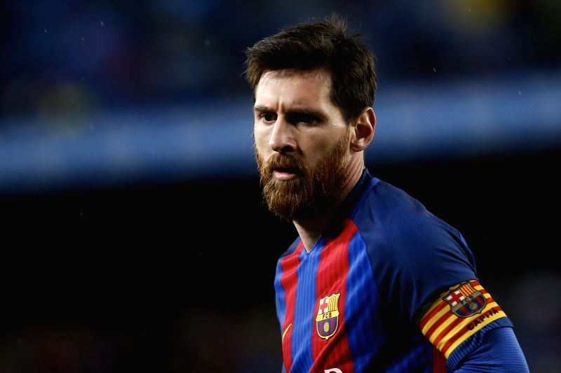 BARCELONA, April 27, 2017 - Barcelona's Lionel Messi reacts during the Spanish first division soccer match against CA Osasuna at the Camp Nou Stadium in Barcelona, Spain, April 26, 2017. Barcelona ...