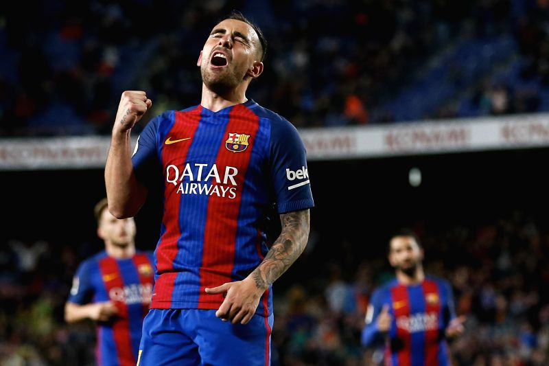 BARCELONA, April 27, 2017 - Barcelona's Paco Alcacer celebrates after scoring during the Spanish first division soccer match against CA Osasuna at the Camp Nou Stadium in Barcelona, Spain, April 26, ...