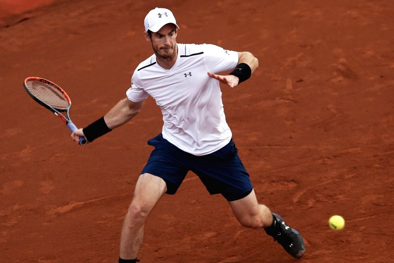 BARCELONA, April 28, 2017 - Britain's Andy Murray returns the ball during the ATP 2017 Barcelona Open Round of 16 match against Spain's Feliciano Lopez in Barcelona, Spain, April 27, 2017. Murray won ...