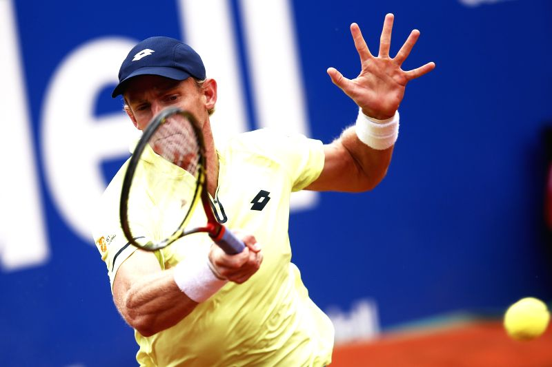 BARCELONA, April 28, 2017 - South Africa's Kevin Anderson returns the ball during the ATP 2017 Barcelona Open Round of 16 match against Spain's Rafael Nadal in Barcelona, Spain, April 27, 2017. ...