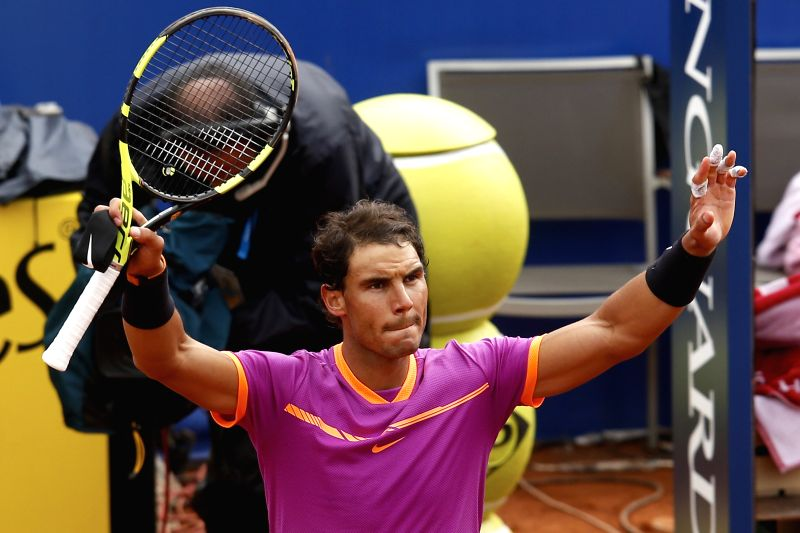 BARCELONA, April 28, 2017 - Spain's Rafael Nadal celebrates after the ATP 2017 Barcelona Open Round of 16 match against South Africa's Kevin Anderson in Barcelona, Spain, April 27, 2017. Nadal won ...