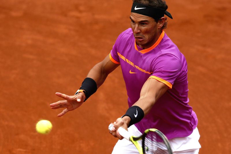 BARCELONA, April 28, 2017 - Spain's Rafael Nadal hits the ball during the ATP 2017 Barcelona Open Round of 16 match against South Africa's Kevin Anderson  in Barcelona, Spain, April 27, 2017. Nadal ...