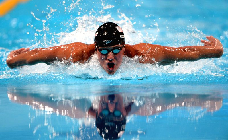 : BARCELONA, Aug. 4, 2013 (Xinhua/IANS)Ryan Lochte of the United States competes during the men's 100m butterfly final of the swimming competition of the 15th FINA World Championships at ...