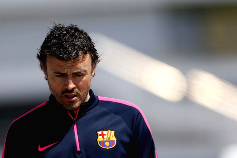 FC Barcelona's Spanish coach Luis Enrique, prior to a press conference held after a team's training session at Joan Gamper sports city in Barcelona, northeastern Spain, 10 April 2015. FC ...