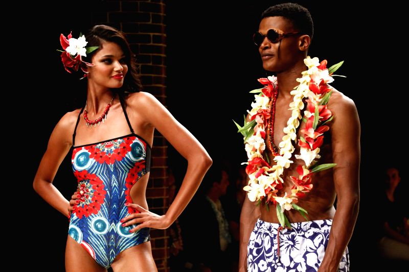 Model present creations by Desigual for Spring Summer 2015 during the 14th Barcelona Fashion Week in Barcelona, Spain, July, 1, 2014.