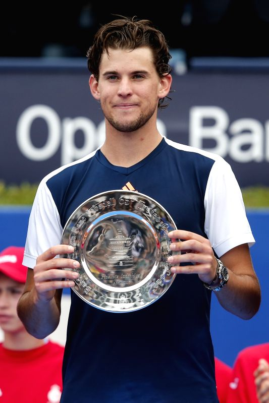 BARCELONA, May 1, 2017 - Austria's Dominic Thiem holds the trophy after the ATP 2017 Barcelona Open Final match against Rafael Nadal of Spain in Barcelona, Spain, April 30, 2017. Thiem lost 0-2.