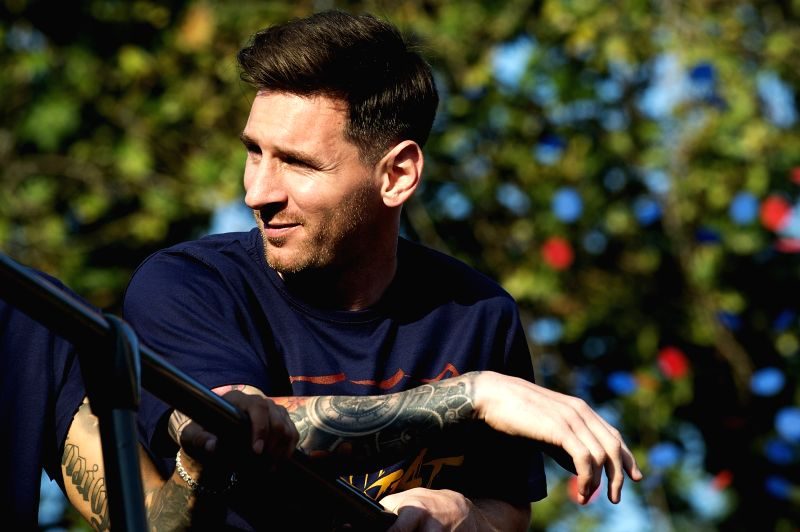 BARCELONA, May 16, 2016 - Argentine forward Lionel Messi attends FC Barcelona's celebration parade for winning the Spanish La Liga championship, in Barcelona, Spain, May 15, 2016.