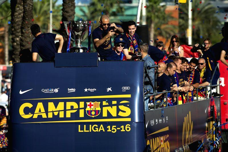 BARCELONA, May 16, 2016 - FC Barcelona holds a celebration parade for winning the Spanish La Liga championship, in Barcelona, Spain, May 15, 2016.