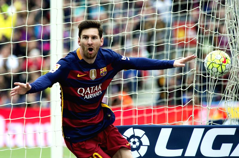 BARCELONA, May 9, 2016 - FC Barcelona's Lionel Messi regrets a missed goal during the Spanish LIGA match between FC Barcelona and Espanyol at the Camp Nou stadium in Barcelona, Spain, May 8, 2016. FC ...