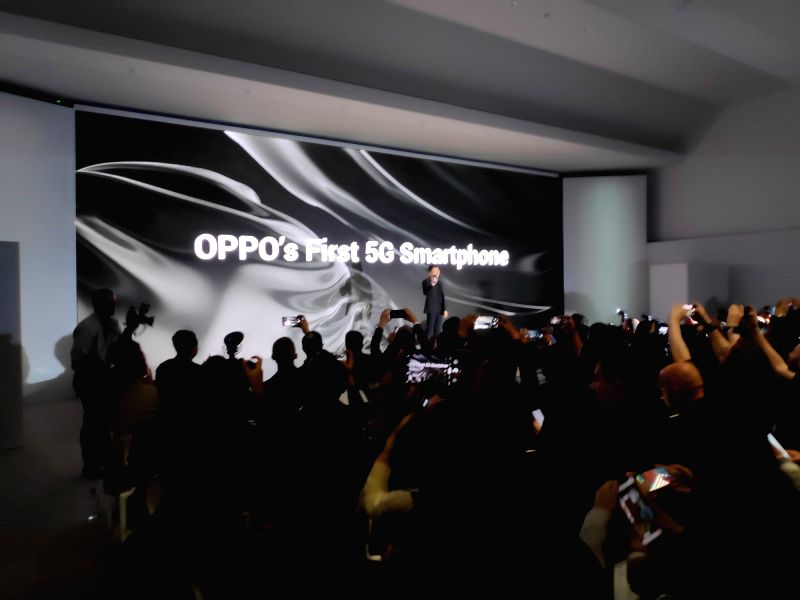 Barcelona: OPPO Vice President Anyi Jiang showcased the the first 5G smartphone in Barcelona, Spain on Feb 23, 2019. (Photo: IANS)