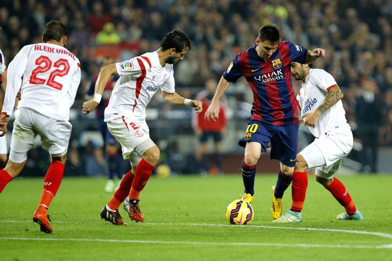 Barcelona (Spain): Barcelona's Argentine forward Lionel Messi in action during La Liga football match FC Barcelona v Sevilla FC in Barcelona, Spain, Nov. 22, 2014. Barcelona wins 5-1, with 3 goals by