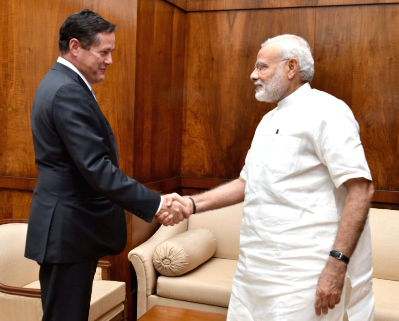Barclays CEO Jes Staley calls on Prime Minister Narendra Modi, in New Delhi on July 20, 2016. - Narendra Modi