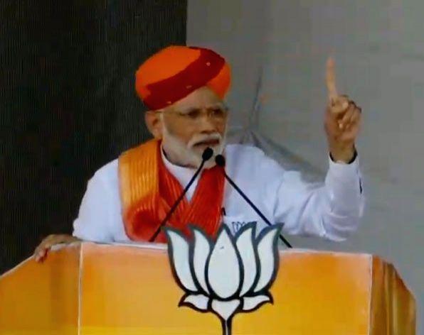 Barmer: Prime Minister Narendra Modi addresses a public rally in Barmer, Rajasthan, on April 21, 2019.