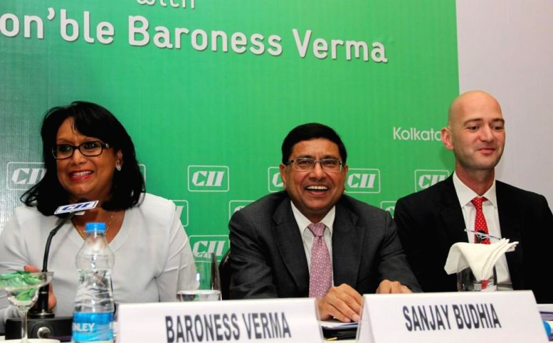 Baroness Sandip Verma, UK's Minister of the Department of Energy and Climate Change with the chairman of CII National Committee on Exports & Export Competitiveness Sanjay Budhia and Deputy High .. - Sandip Verma
