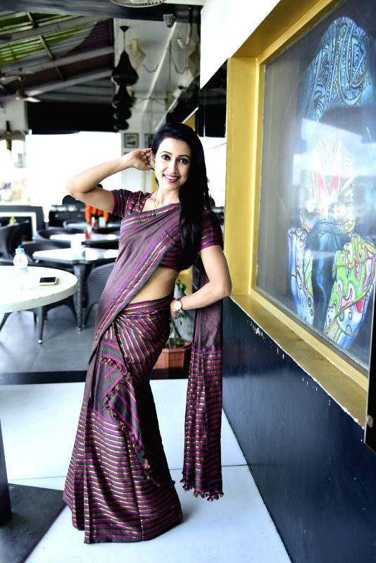 Barsha Rani - Panelist, posing in a Mekhla Chador while performing Bihu at the Guwahati Model Auditions - Auditions