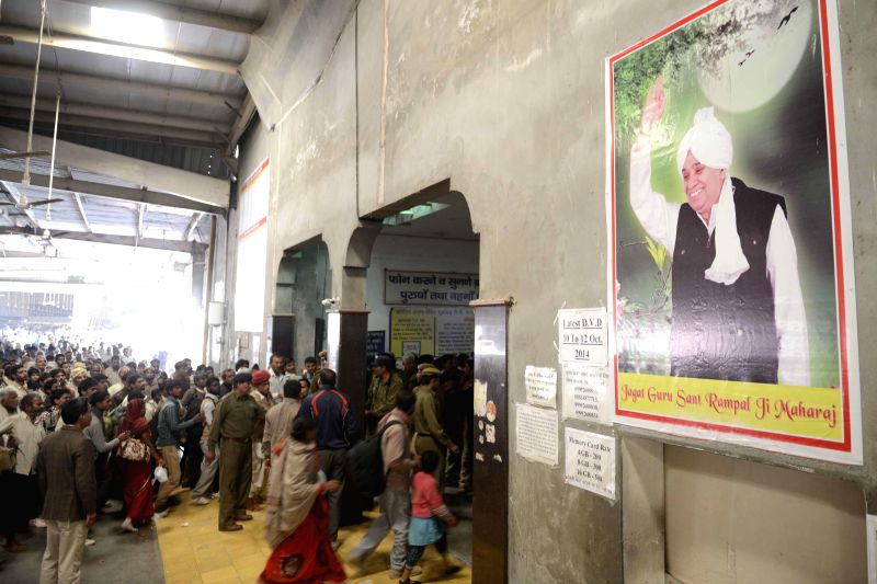Followers of controversial sect leader Rampal at Satlok Ashram near Barwala town in Haryana's Hisar district, 210 km from Chandigarh on Nov 20, 2014.