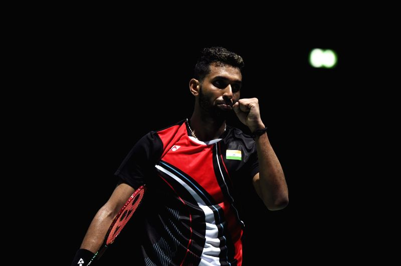 BASEL, Aug. 20, 2019 (Xinhua) -- India's H. S. Prannoy celebrates during the men's singles 2nd round match against China's Lin Dan at the BWF World Championships 2019 in Basel, Switzerland, Aug. 20, 2019. (Xinhua/Li Jundong/IANS)