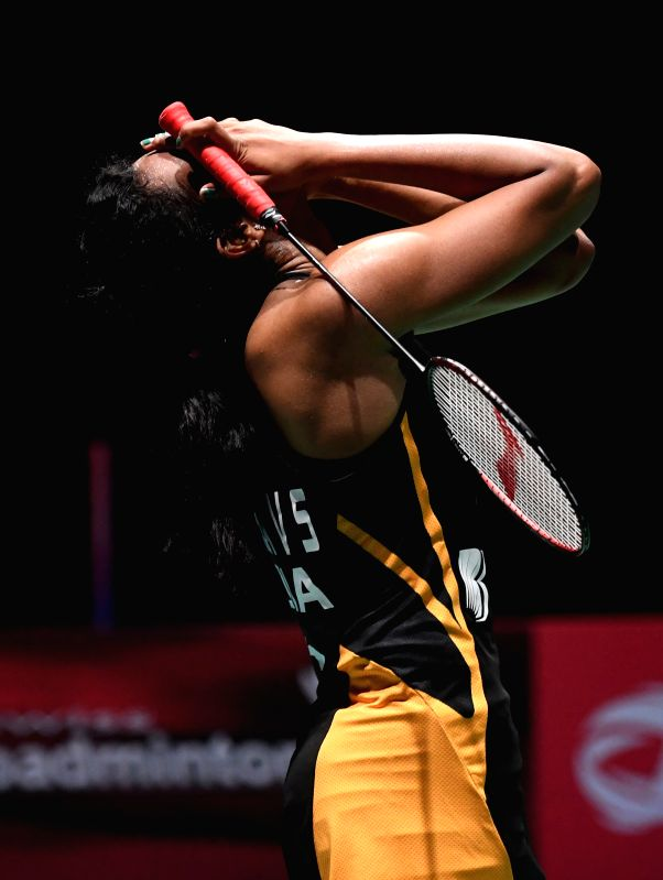 BASEL, Aug. 25, 2019 (Xinhua) -- India's Sindhu Pusarla V. celebrates after the women's singles final match against Japan's Okuhara Nozomi at the BWF Badminton World Championships 2019 in Basel, Switzerland, Aug. 25, 2019. (Xinhua/Li Jundong/IANS)