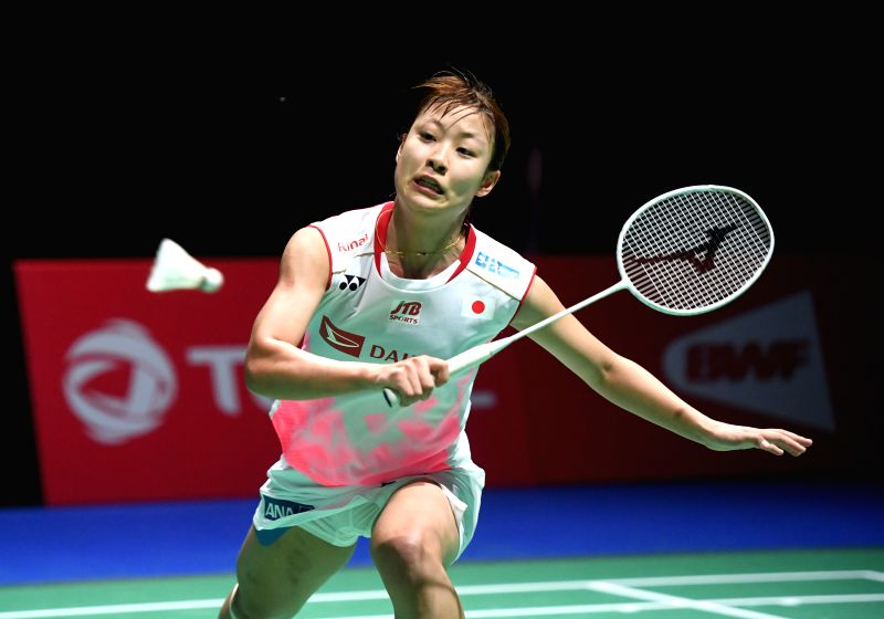 BASEL, Aug. 25, 2019 (Xinhua) -- Japan's Okuhara Nozomi returns the shuttle during the women's singles final match against India's Sindhu Pusarla V. at the BWF Badminton World Championships 2019 in Basel, Switzerland, Aug. 25, 2019. (Xinhua/Li Jundon