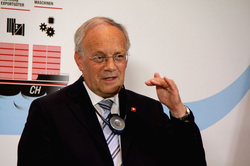 Swiss Federal Councilor Johann Schneider-Ammann attends a press conference held in the Rhine port in Basel, Switzerland, July 1, 2014. With the witness of first ...