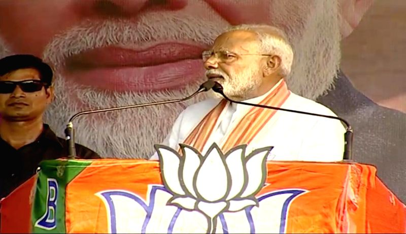 Basirhat: Prime Minister Narendra Modi addresses a BJP rally in Basirhat, West Bengal on May 15, 2019. (Photo: IANS)