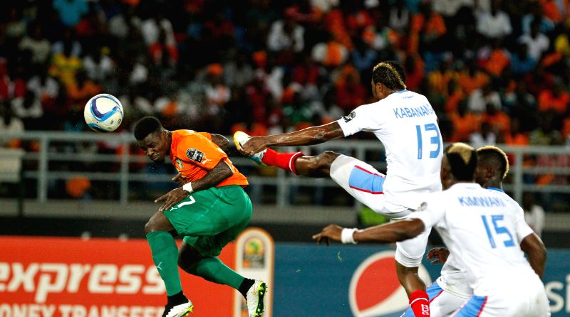 Serge Alain Stephane Aurier (L) of Cote d'Ivoire competes during a semi-final match of Africa Cup of Nations between Cote d'Ivoire and the Democratic Republic of Congo .