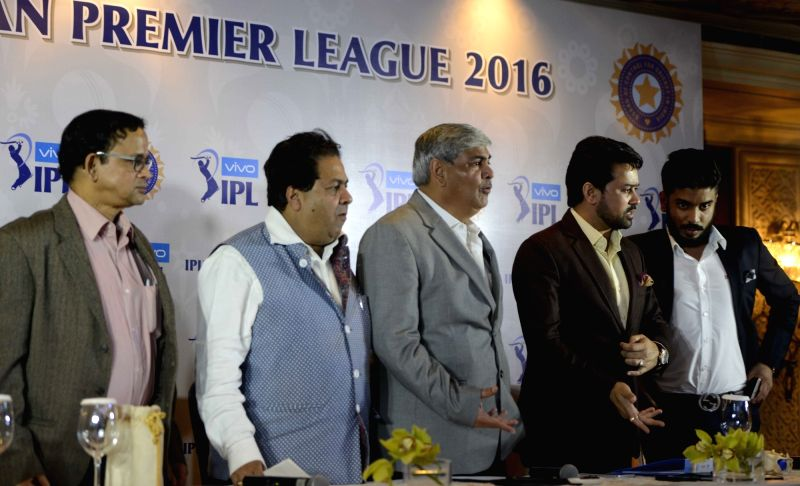 BCCI president Shashank Manohar, Indian Premier League (IPL) chairman Rajiv Shukla and BCCI secretary Anurag Thakur during a press conference in New Delhi, on Dec 8, 2015.