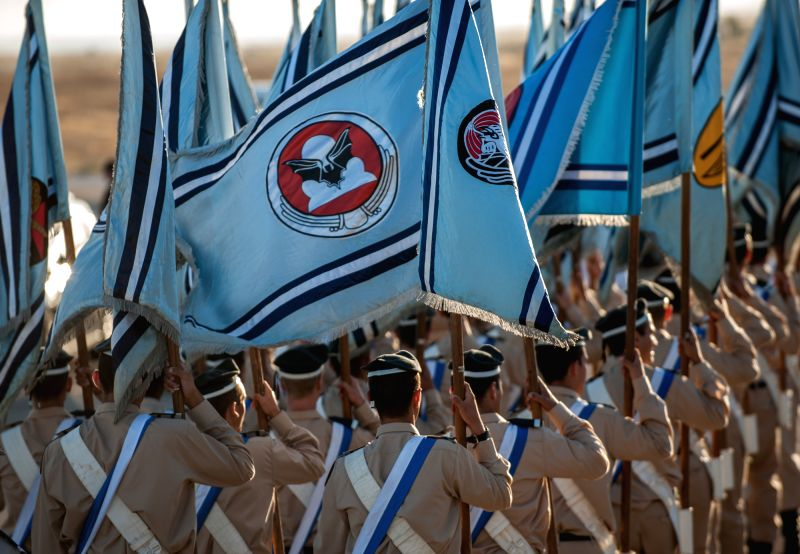 BE'ER SHEVA (ISRAEL), June 27, 2014 A batch of pilots march during the 168th class graduation at the Hatzerim Air Base near Be'er Sheva, southern Israel, on June 26, 2014. The Israeli Air