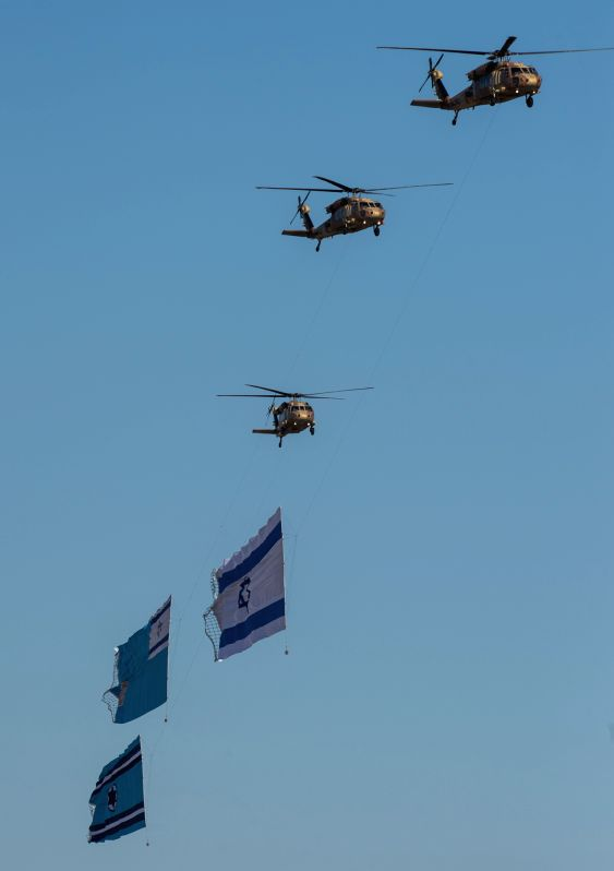 BE'ER SHEVA (ISRAEL), June 27, 2014 The Israeli Air Force helicopters are seen during the 168th class graduation at the Hatzerim Air Base near Be'er Sheva, southern Israel, on June 26, ...
