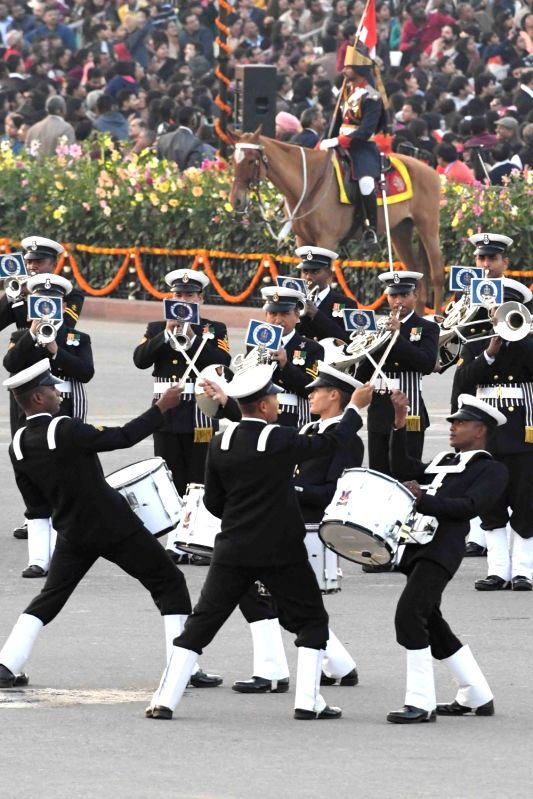Beating Retreat ceremony underway at Vijay Chowk in New Delhi, on Jan 29, 2018.