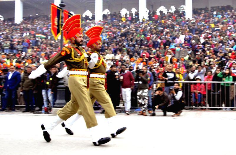 Beating The Retreat ceremony underway at Attari-Wagah Border in Punjab on Jan 26, 2018.