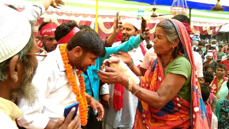 Begusarai: CPI's Lok Sabha candidate from Begusarai, Kanhaiya Kumar being greeted by a supporter during a public rally, in Bihar's Begusarai on April 20, 2019.