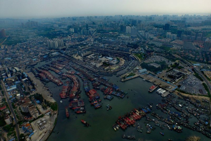 BEIHAI, Aug. 2, 2016 - Fishing boats have to berth at a port as the Typhoon Nida approaches in Beihai, south China's Guangxi Zhuang Autonomous Region, Aug. 2, 2016. Affected by the Typhoon Nida, ...