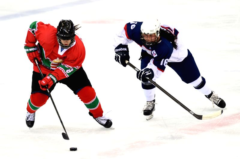 Kinga  Jokai-Szilagyi(L) of Hungary vies with Livia Lucova of Slovakia during their match at the 2015 IIHF Women's World Championship Division I Group B at the ...