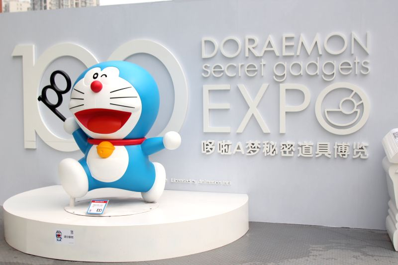 """A Doraemon figure at a pre-exhibition of """"100 Doraemon Secret Gadgets Expo"""" in Beijing, capital of China, April 17, 2014. The exhibition will officially ."""