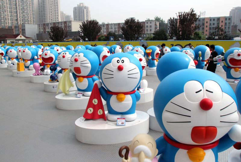 """Doraemon figures are displayed at a pre-exhibition of """"100 Doraemon Secret Gadgets Expo"""" in Beijing, capital of China, April 17, 2014. The exhibition ..."""