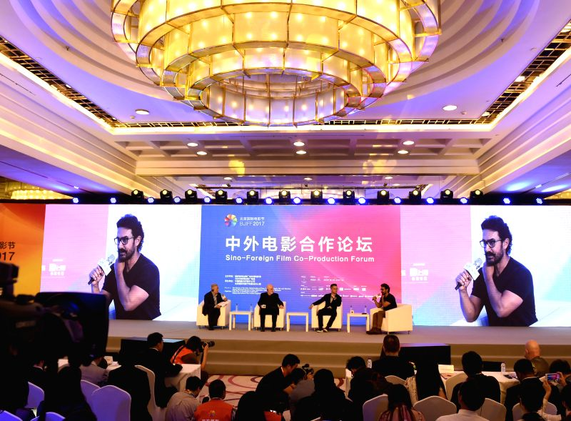 BEIJING, April 17, 2017 - The Sino-Foreign Film Co-Production Forum is held on the sidelines of the Beijing International Film Festival in Beijing, capital of China, April 17, 2017.   (Xinhua/Lu Peng)