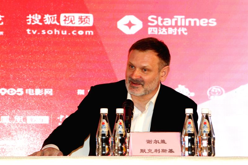 """Director of """"Battle of Sevastopol"""" Sergei Mokrtitsky attends a press conference of the movie as part of the 5th Beijing International Film Festival in ..."""