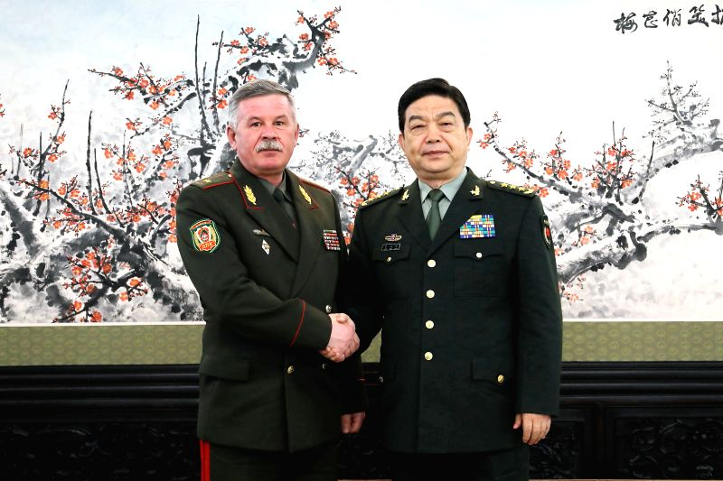 BEIJING, April 18, 2017 - Chinese Defense Minister and State Councilor Chang Wanquan (R) meets with Anatoly Lappo, chairman of Belarus' State Border Committee in Beijing, capital of China, April 18, ...