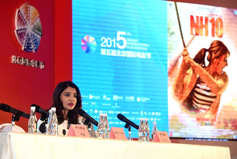 "Leading actress Anushka Sharma of film ""NH10"", answers questions at a press conference during the fifth Beijing International Film Festival (BJIFF) in ... - Anushka Sharma"
