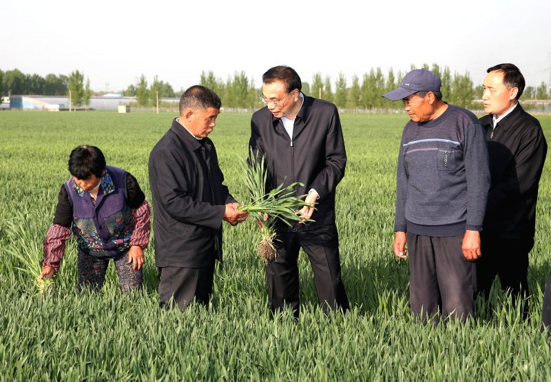 BEIJING, April 22, 2017 - Chinese Premier Li Keqiang (C) inspects the growing of wheat at a wheat field in Qujia Village of Jinan, capital of east China's Shandong Province, April 20, 2017. Li ...